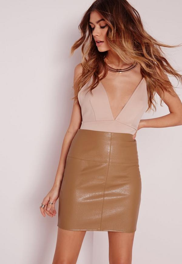 Faux Leather Mini Skirt in Brown - Skirts - Faux Leather & Suede ...