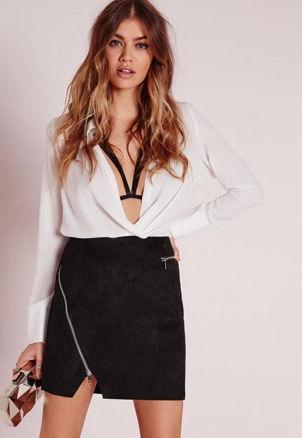 Zip Detail Faux Suede Mini Skirt Black