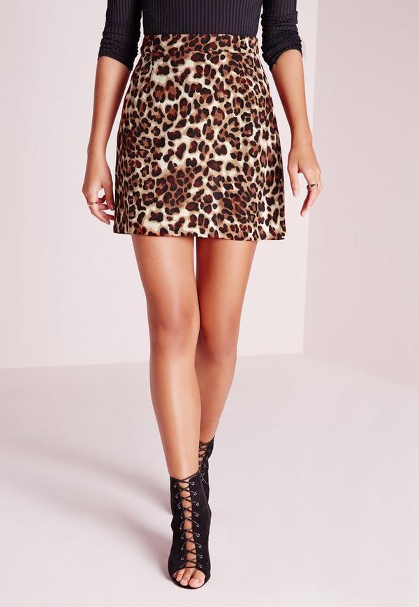 leopard print a line mini skirt brown missguided