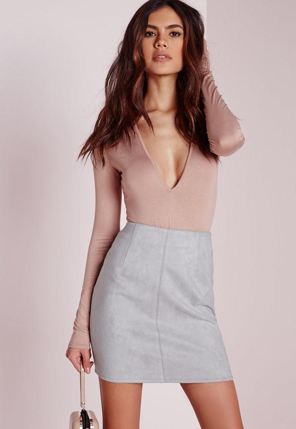 Bonded Faux Suede Mini Skirt Light Grey