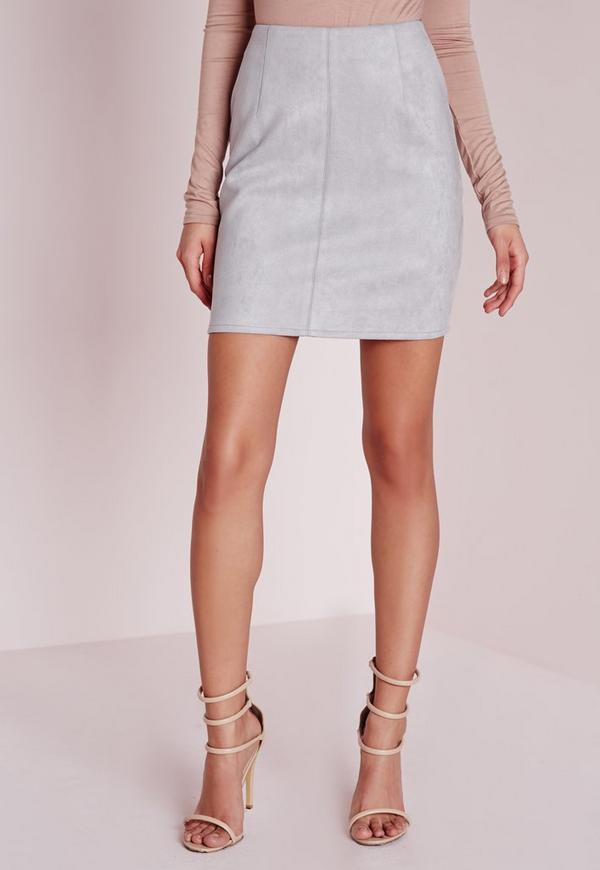 Bonded Faux Suede Mini Skirt Light Grey | Missguided