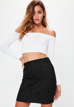 Bonded Faux Suede Mini Skirt Black