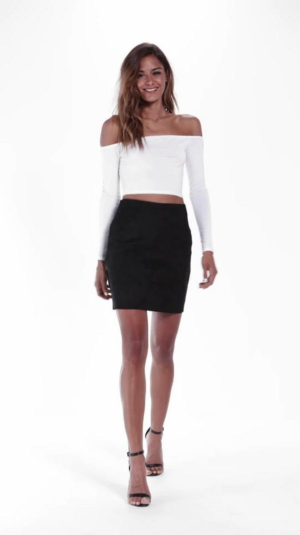 Bonded Faux Suede Mini Skirt Black - Skirts - Faux Leather & Suede ...