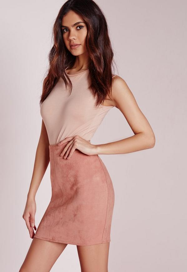 Bonded Faux Suede Mini Skirt Rose Pink