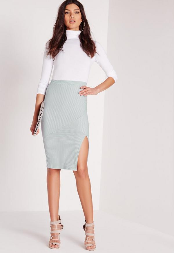 ribbed panel midi skirt green