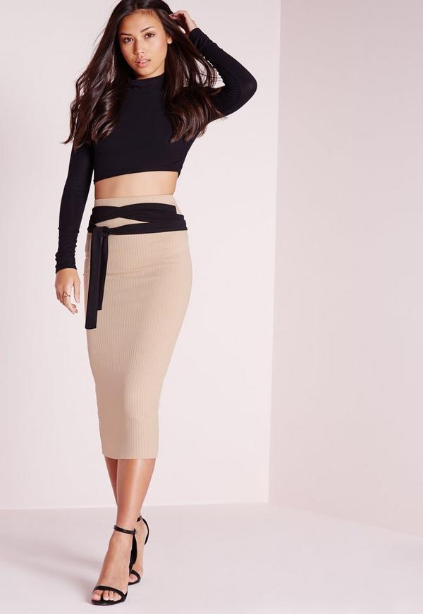 ribbed contrast tie waist midi skirt camel missguided