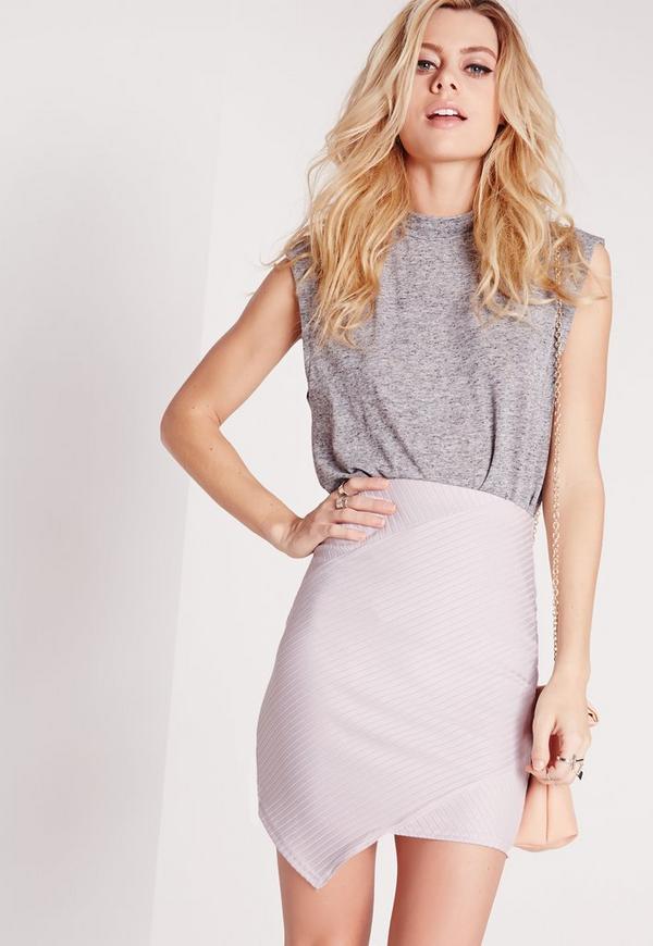 Ribbed Asymmetric Mini Skirt Mauve