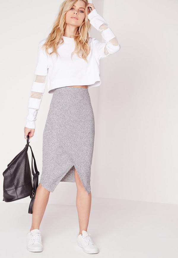 Wrap Midi Skirt Grey Marl
