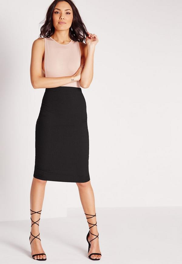 Rib Bodycon Midi Skirt Black