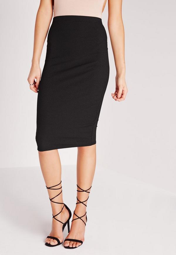 rib bodycon midi skirt black missguided