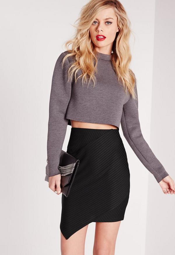 Ribbed Asymmetric Mini Skirt Black