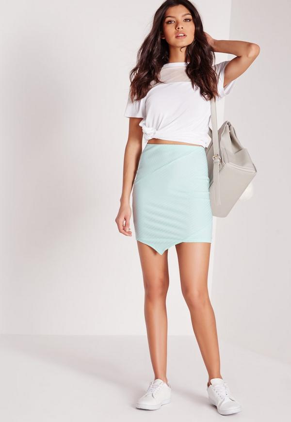 Ribbed Asymmetric Mini Skirt Green