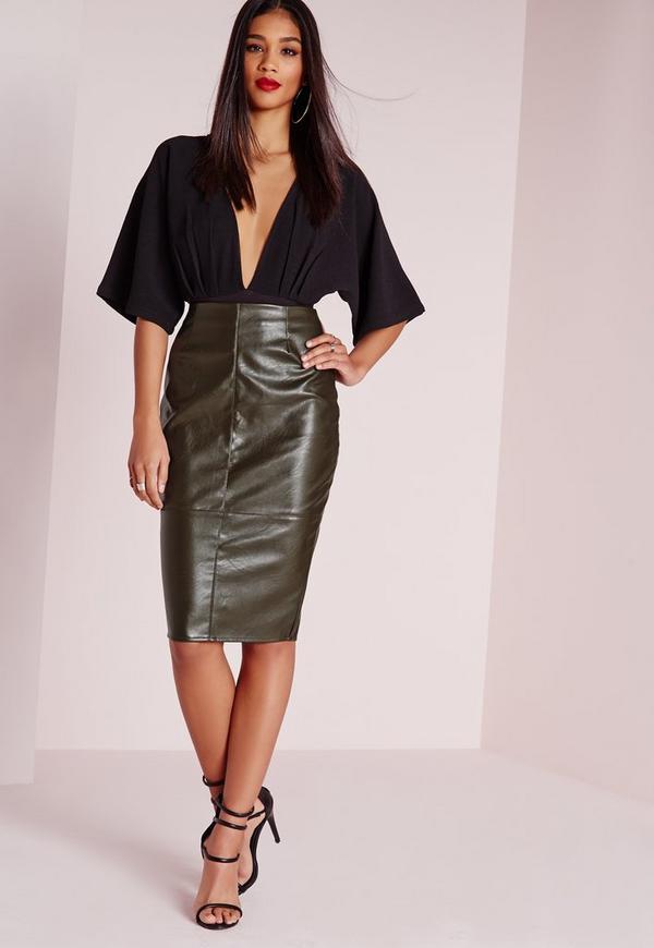 Faux Leather Seam Detail Midi Skirt Khaki