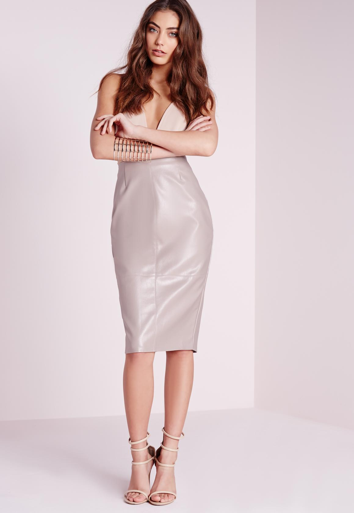 Faux Leather Seam Detail Midi Skirt Grey | Missguided