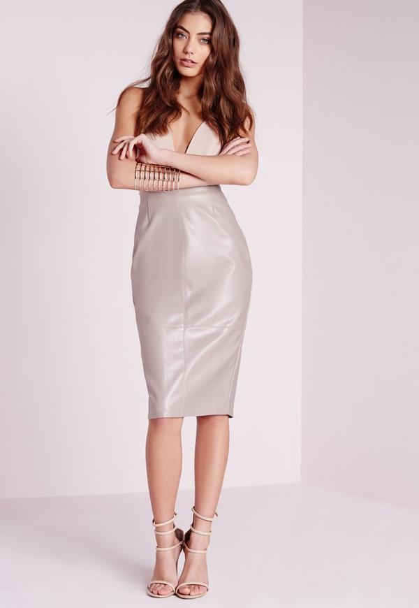 Faux Leather Seam Detail Midi Skirt Grey