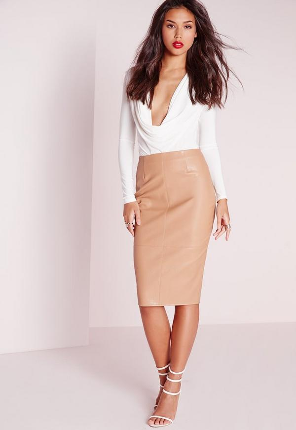 Faux Leather Seam Detail Midi Skirt Camel