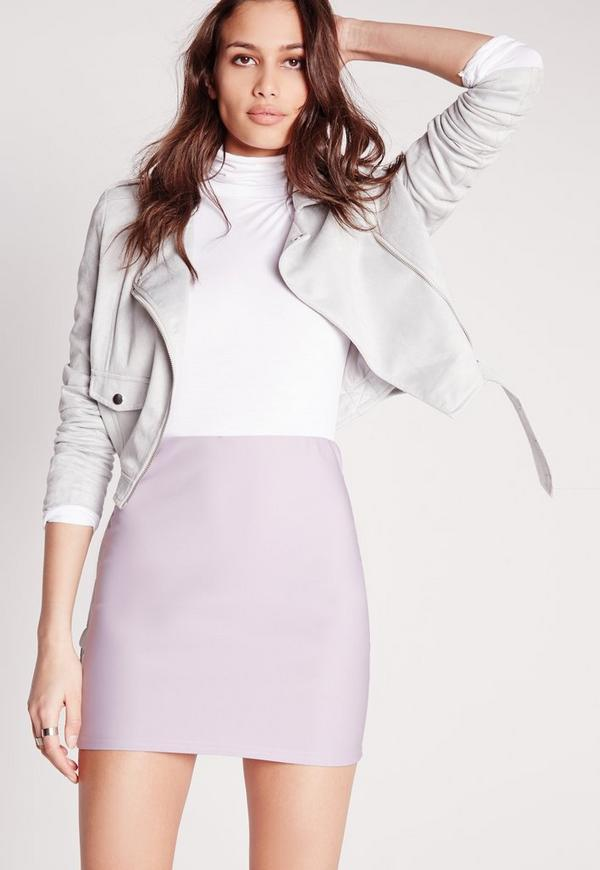 Scuba Mini Skirt Lilac