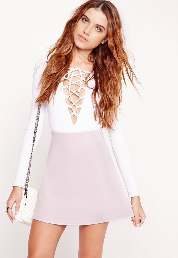 Scuba A-Line Mini Skirt Lilac