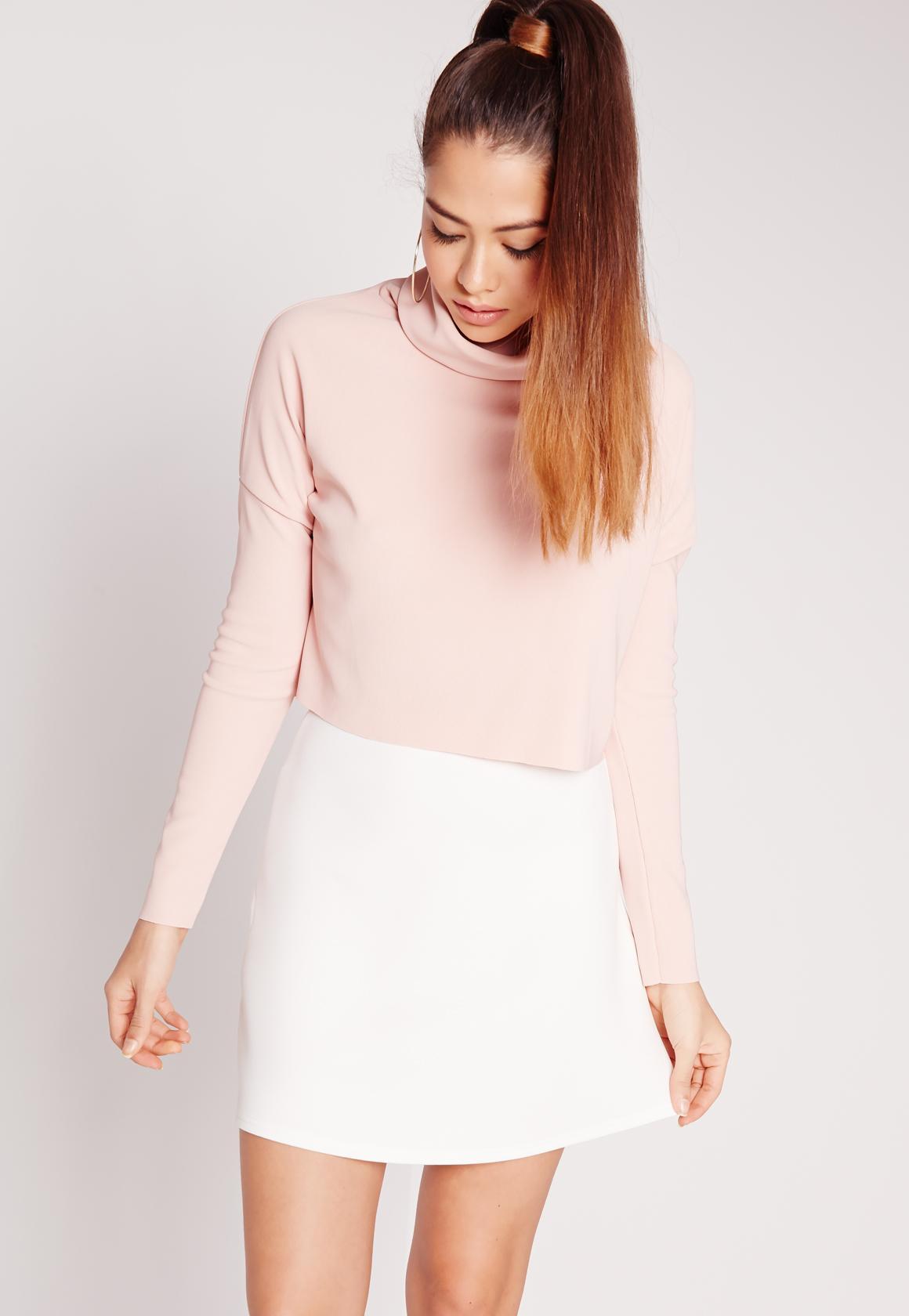 Scuba A-Line Mini Skirt White | Missguided