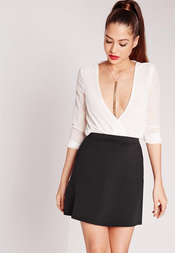 Scuba A-Line Mini Skirt Black