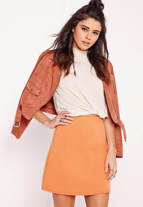Scuba A-Line Mini Skirt Camel