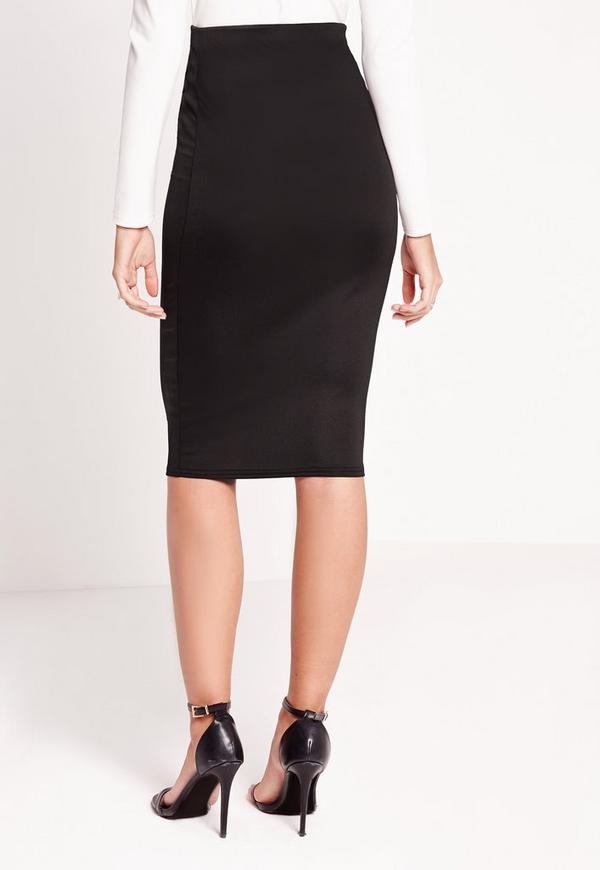 scuba midi skirt black missguided