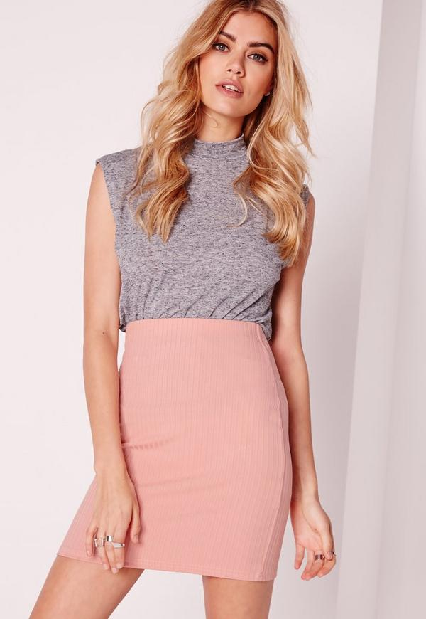 Ribbed Mini Skirt Pink