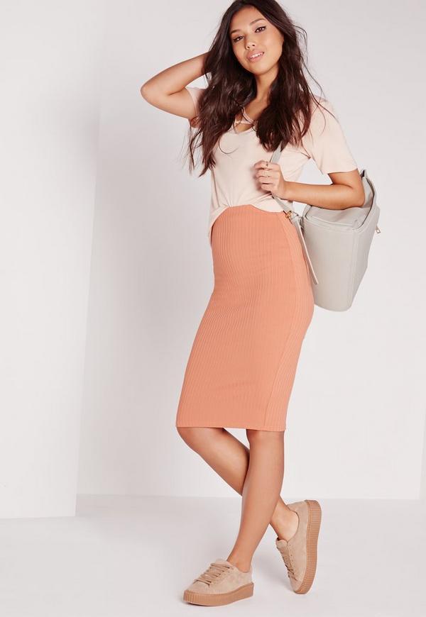 Rib Midi Skirt Orange