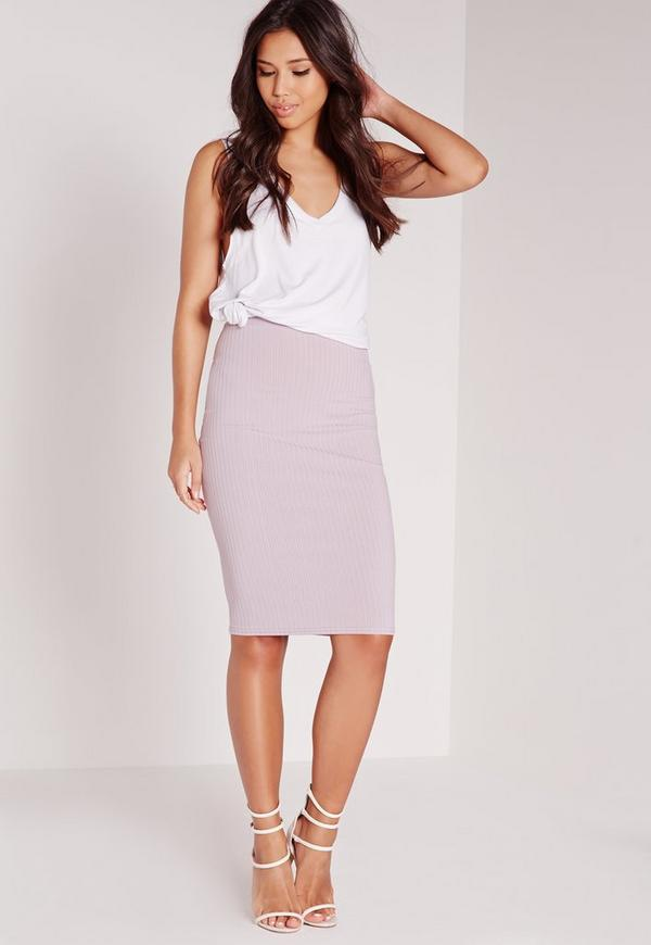 Ribbed Midi Skirt Lilac