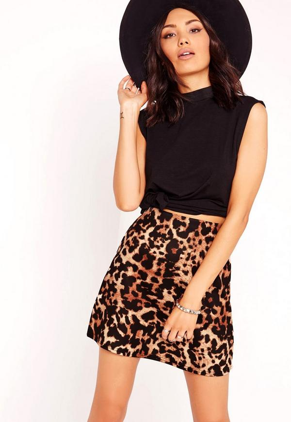 Leopard Print Scuba A-Line Skirt Brown