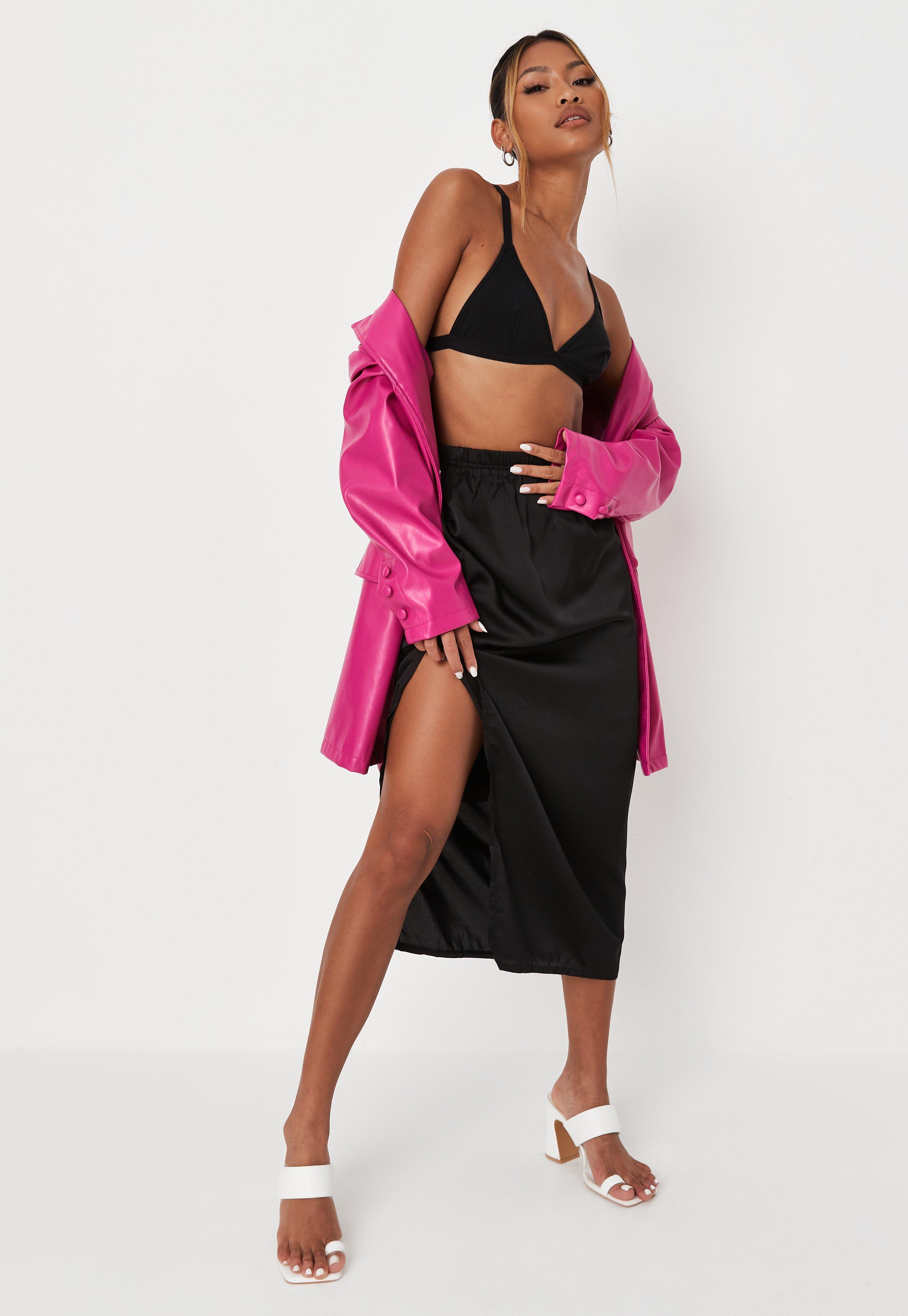 2d1a419c16 Black Satin Midi Slip Skirt