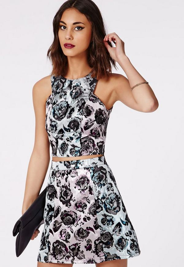 Charlize Contrast Floral Print A-Line Skirt