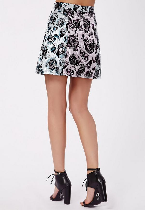 charlize contrast floral print a line skirt missguided