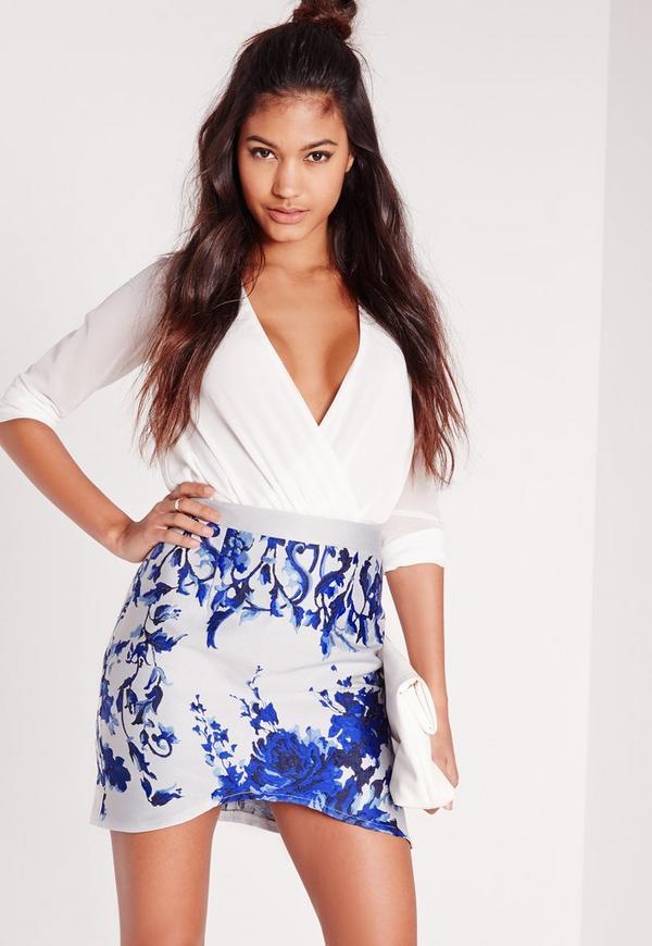 Porcelain Brocade Mini Skirt