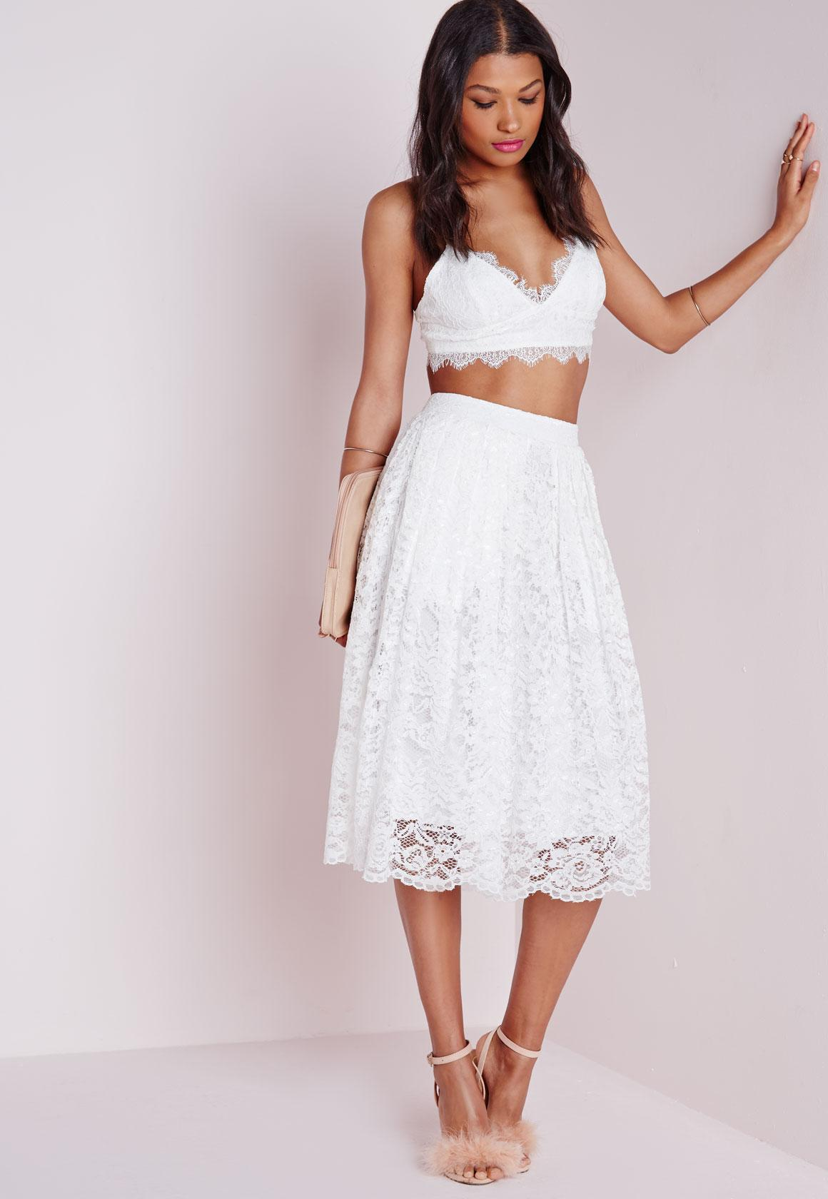 Premium Lace Full Midi Skirt White