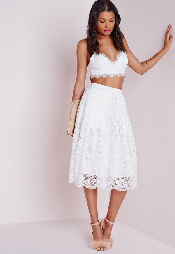 Premium Lace Full Midi Skirt White