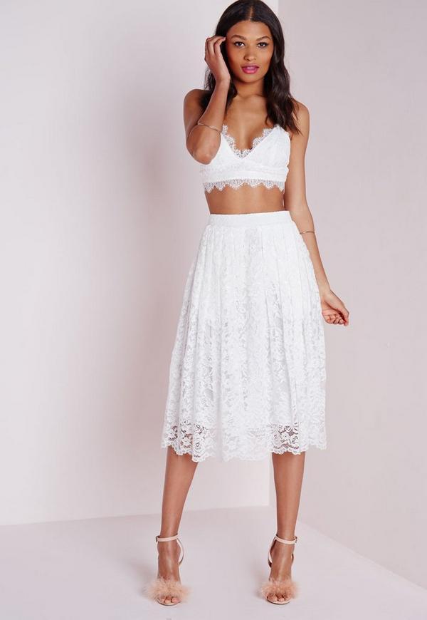 premium lace midi skirt white missguided