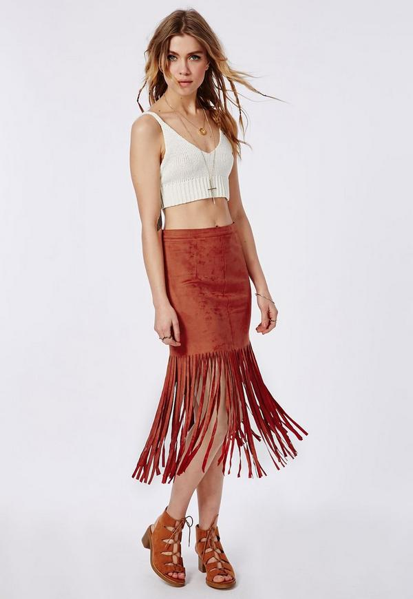 Faux Suede Fringe Midi Skirt Rust