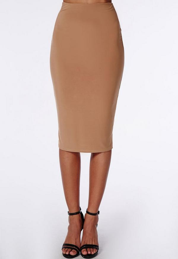 ruched back slinky midi skirt camel missguided