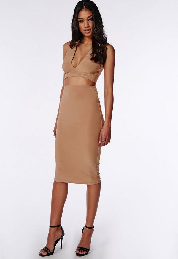Ruched Back Slinky Long Midi Skirt Camel | Missguided