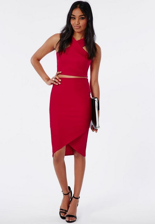 Wrap Hem Crepe Midi Skirt Red