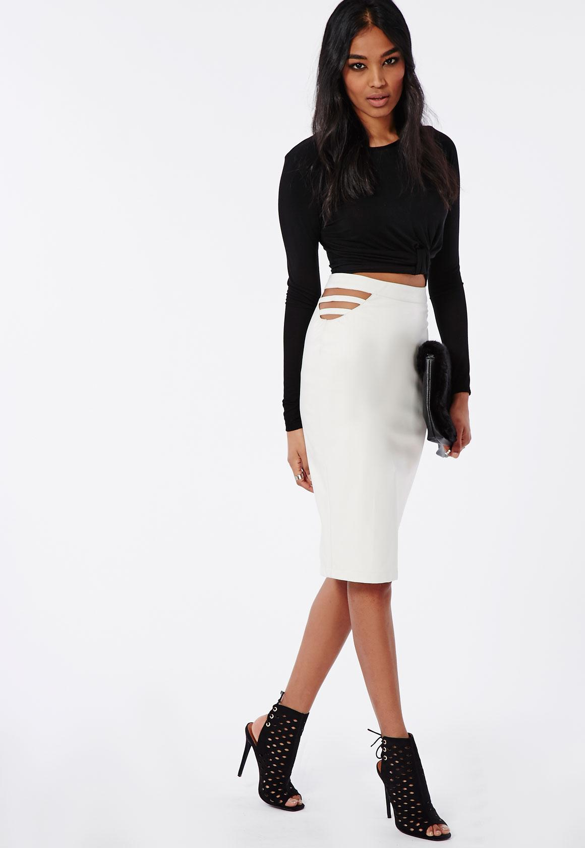 Caged Side Faux Leather Midi Skirt White | Missguided