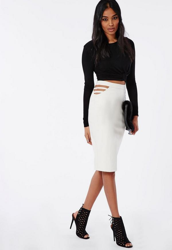 Caged Side Faux Leather Midi Skirt White