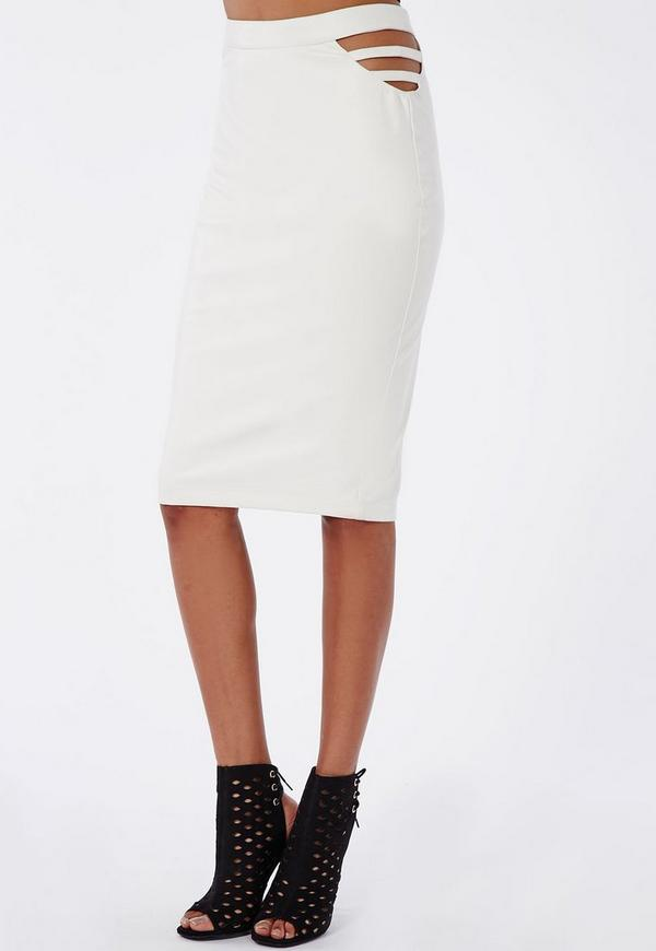 caged side faux leather midi skirt white missguided