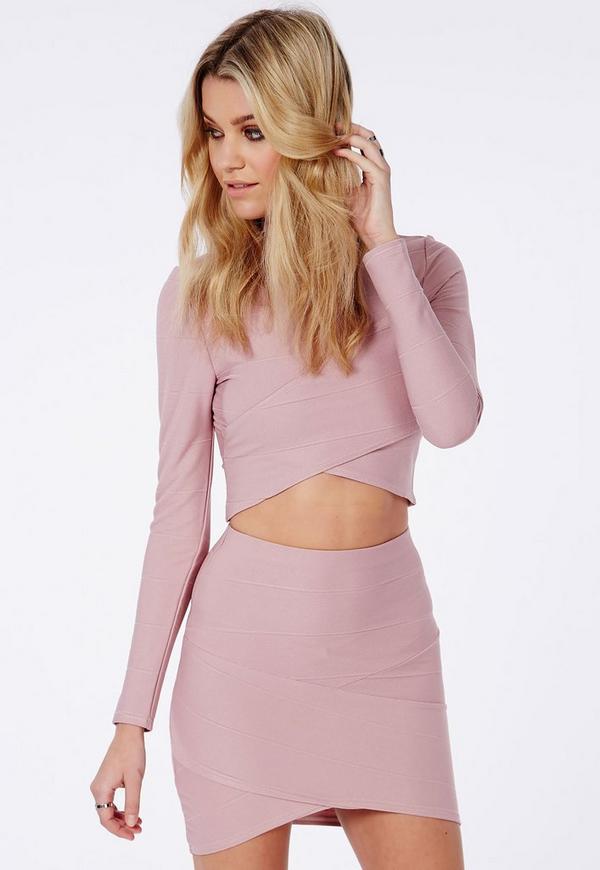 Bandage Asymmetric Hem Mini Skirt Mauve