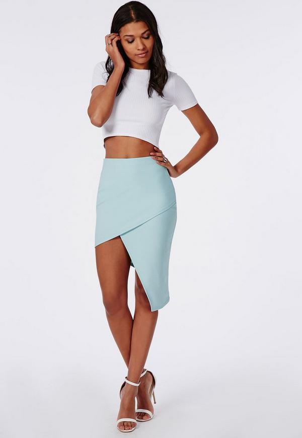 Asymmetric Midi Skirt Powder Blue