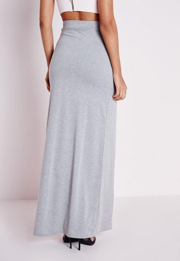 split front maxi skirt grey missguided