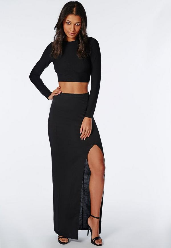 Front Split Maxi Skirt Black
