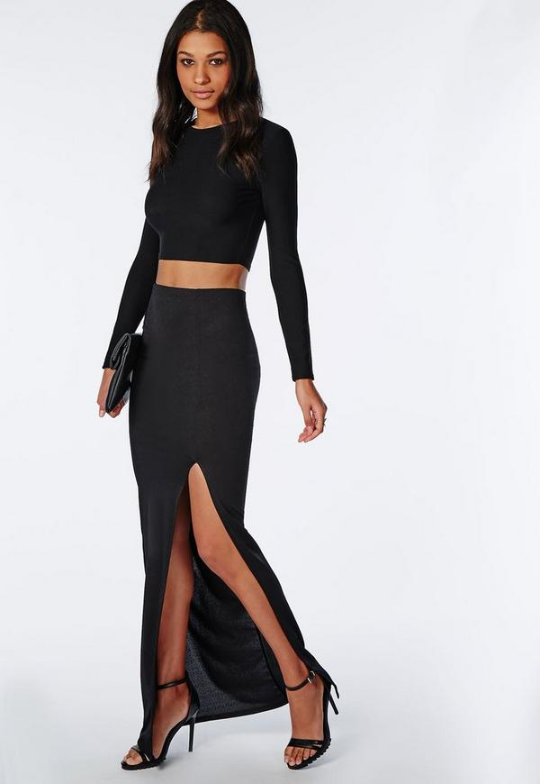 Front Split Maxi Skirt Black - Skirts - Missguided