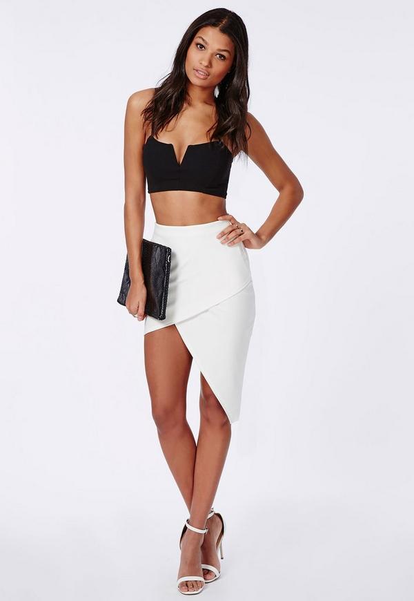 Asymmetric Midi Skirt White